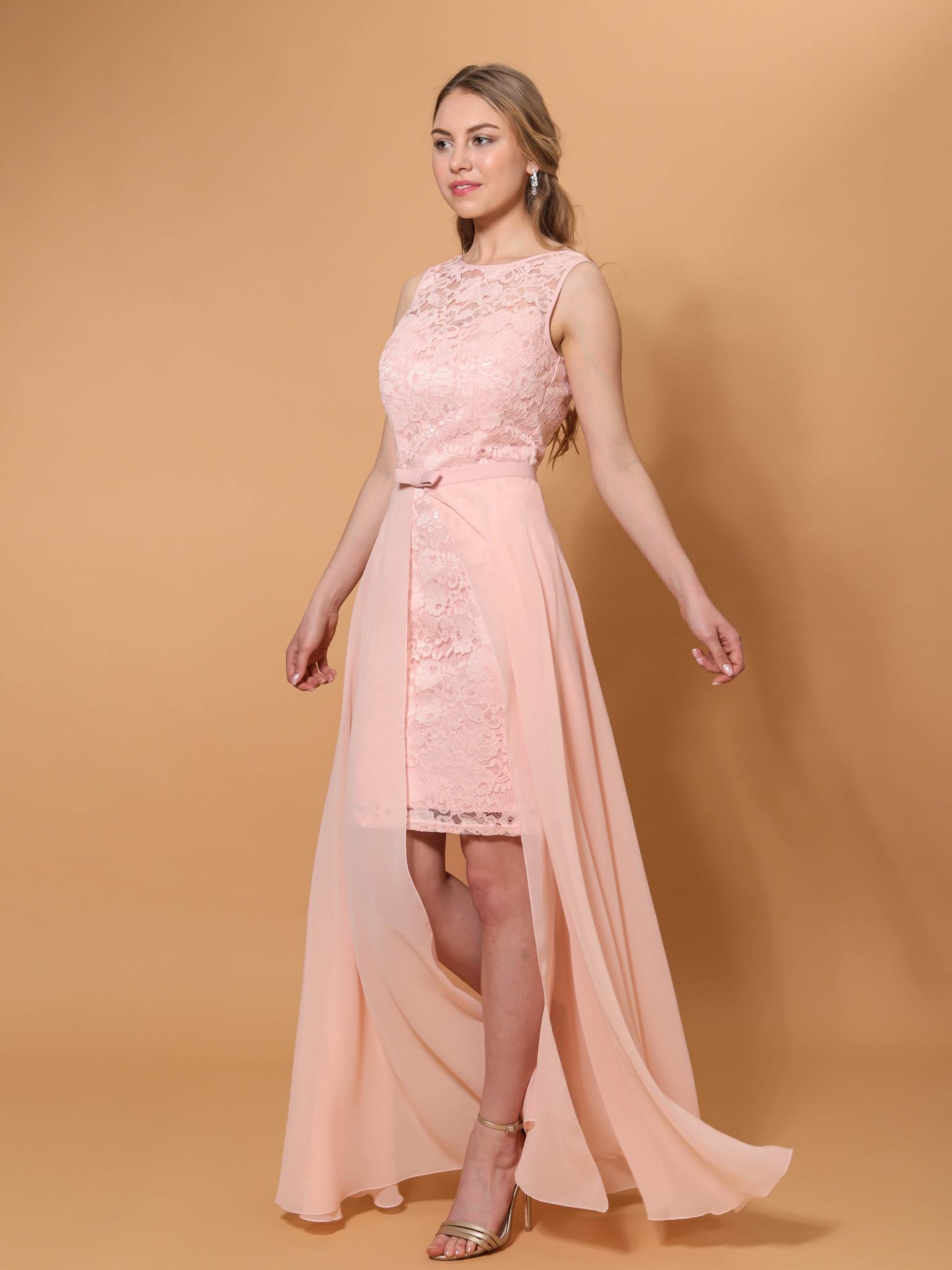 Свадебное платье со съемной юбкой из фатина (пудра)