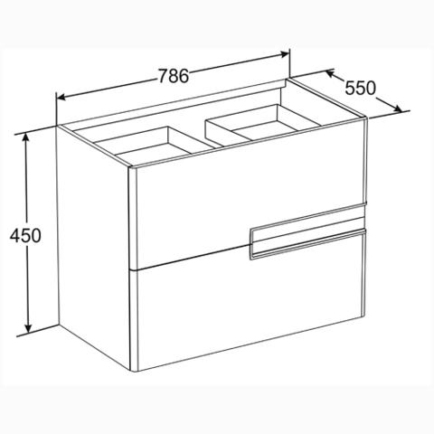 Мебель для ванной Roca Victoria Nord Ice Edition 80x45 ZRU9302731/732799С000 схема