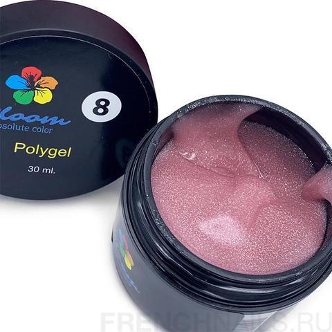Poly Gel Bloom №8 Искрящийся розовый 30мл