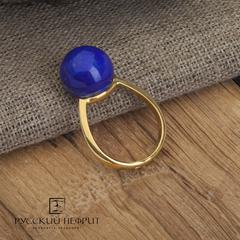 Кольцо с бадахшанским лазуритом позолоченное. Perlus.