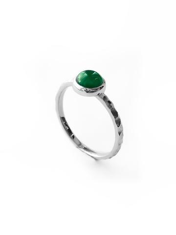 Серебряное узкое кольцо с зеленым агатом