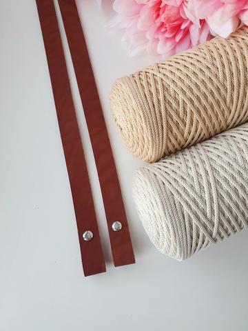 Ручки для сумок на винтах (2 шт)  60 см цвет Коньяк