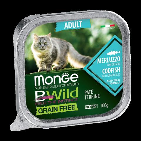 Monge Cat BWild Grain Free Консервы для взрослых кошек из трески с овощами, беззерновые (ламистер)