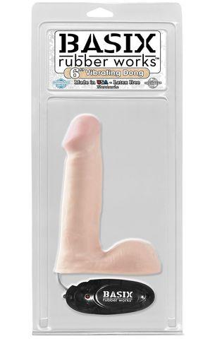 Фаллоимитатор с вибрацией 15,2 см Basix 6 Vibrating Dong (PipeDream)