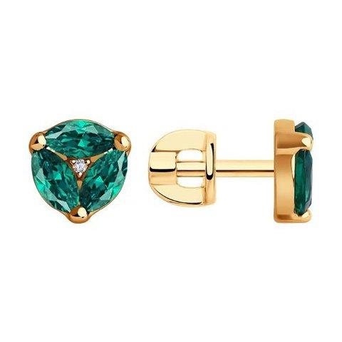 6027041 - Серьги из золота с бриллиантами и изумрудом гидротермальным