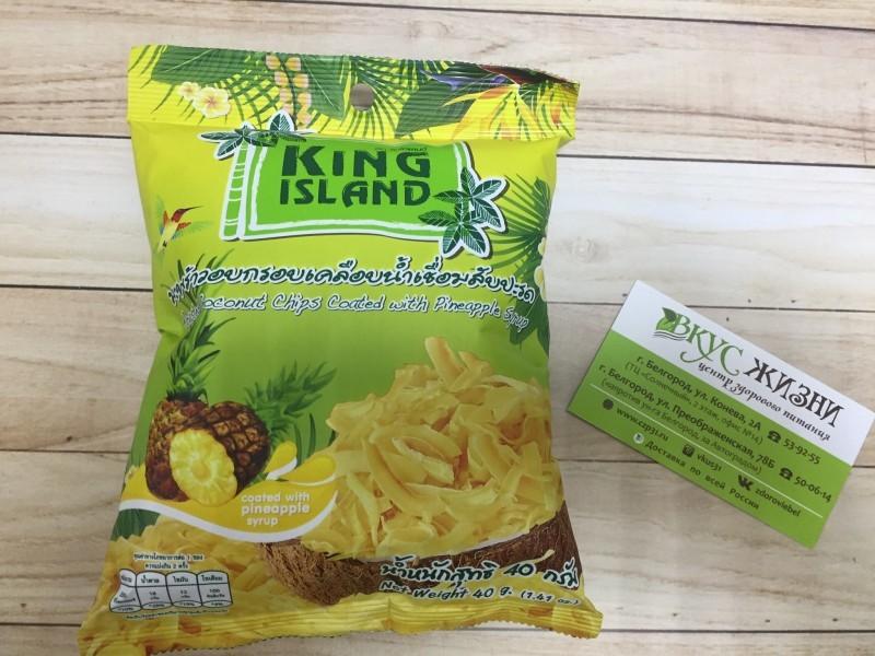 Кокосовые чипсы со вкусом ананаса  KING ISLAND, 40г
