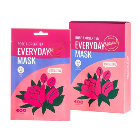 Dearboo Rose & Green Tea Everyday Mask омолаживающая маска для лица с экстрактом розы и зеленого чая