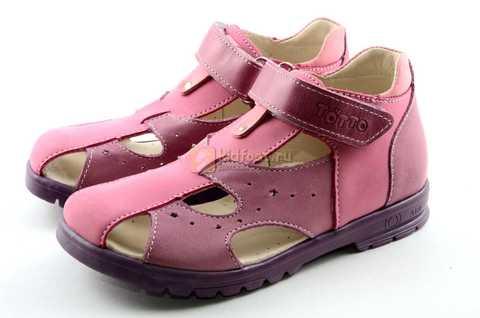 Босоножки Тотто из натуральной кожи с закрытым носом для девочек, цвет сиреневый розовый. Изображение 6 из 12.