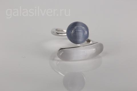 Кольцо с ювелирным стеклом из серебра 925