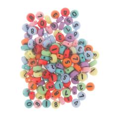 Бусины с цифрами пластиковые, разноцветные, 0,7 см, 20 гр, микс.