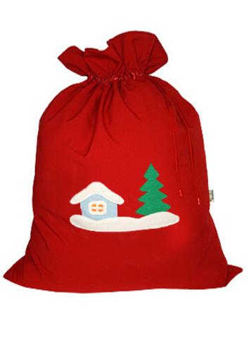 Мешок для подарков Зимняя деревня красный