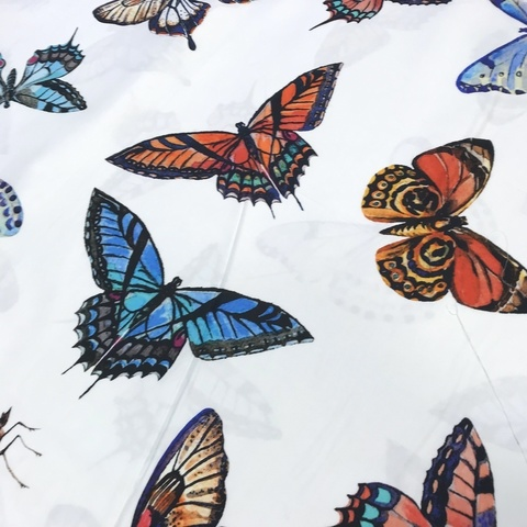 Ткань хлопок сатин  с эластаном с большими бабочками 2053