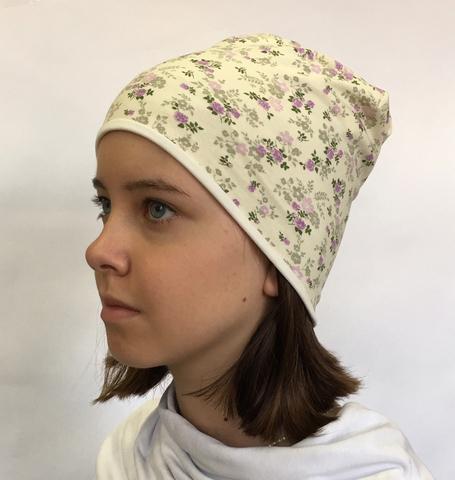 Летняя детская шапочка бини с цветочками