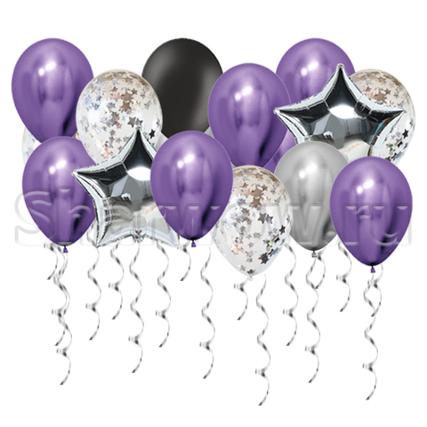 Воздушные шары под потолок Серебро и фиолетовый хром, черный и шары с конфетти и звезды