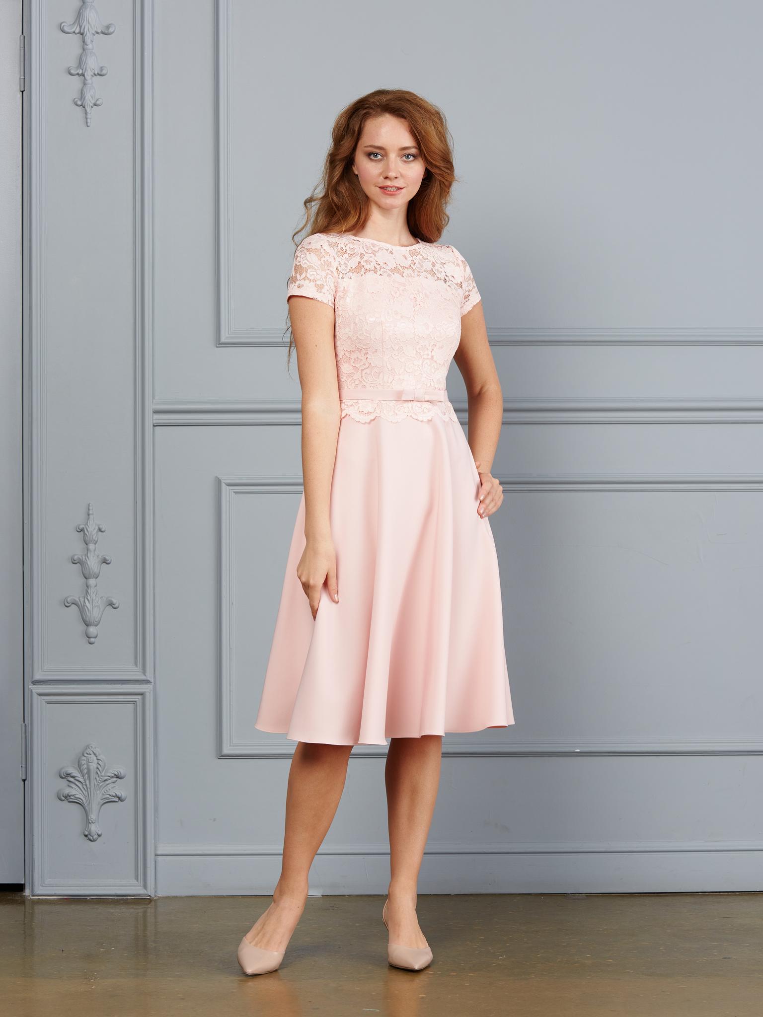 Свадебное платье Мила миди (пудра)