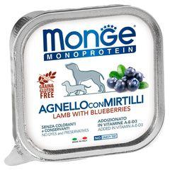 Консервы для собак, Monge Dog Monoprotein Fruits, паштет из ягненка с черникой