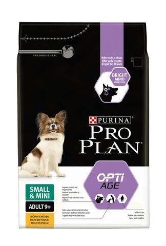 Сухой корм Purina Pro Plan для собак старше 9 лет мелких и карликовых пород с чувствительной кожей, курица с рисом