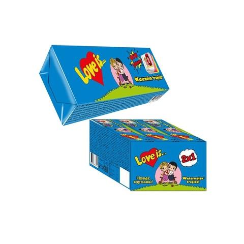 LOVE IS (В) жевательные конфеты со вкусом Арбуз-тропик 1кор*18бл*12шт, 25г