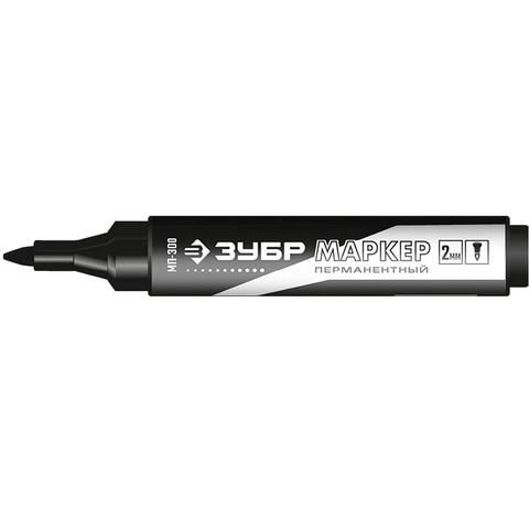 ЗУБР МП-300 черный, 2 мм заостренный перманентный маркер с увелич объемом