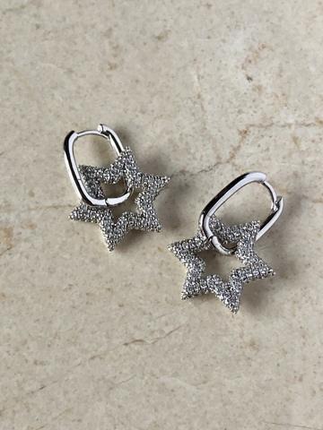 Серьги Стеаланна с цирконами, серебряный цвет