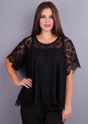 Квитка. Гипюровая блуза больших размеров. Черный.