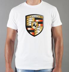 Футболка с принтом Порше (Porsche) белая 009