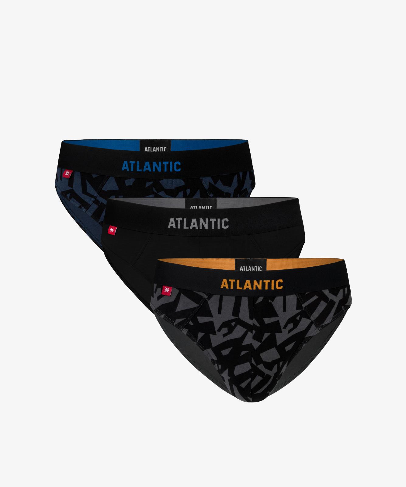 Мужские трусы слипы спорт Atlantic, набор 3 шт., хлопок, деним + черные + графит, 3MP-104
