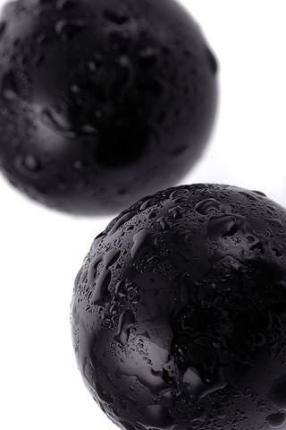 Чёрные гладкие вагинальные шарики из стекла