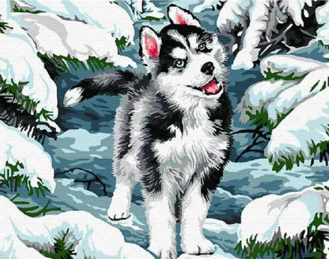 Алмазная Мозаика 40x50 Щенок Хаски среди снега и ёлок (арт. GA70839)
