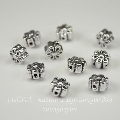 """Бусина металлическая """"Цветочек"""" 6х4 мм (цвет - античное серебро), 10 штук"""