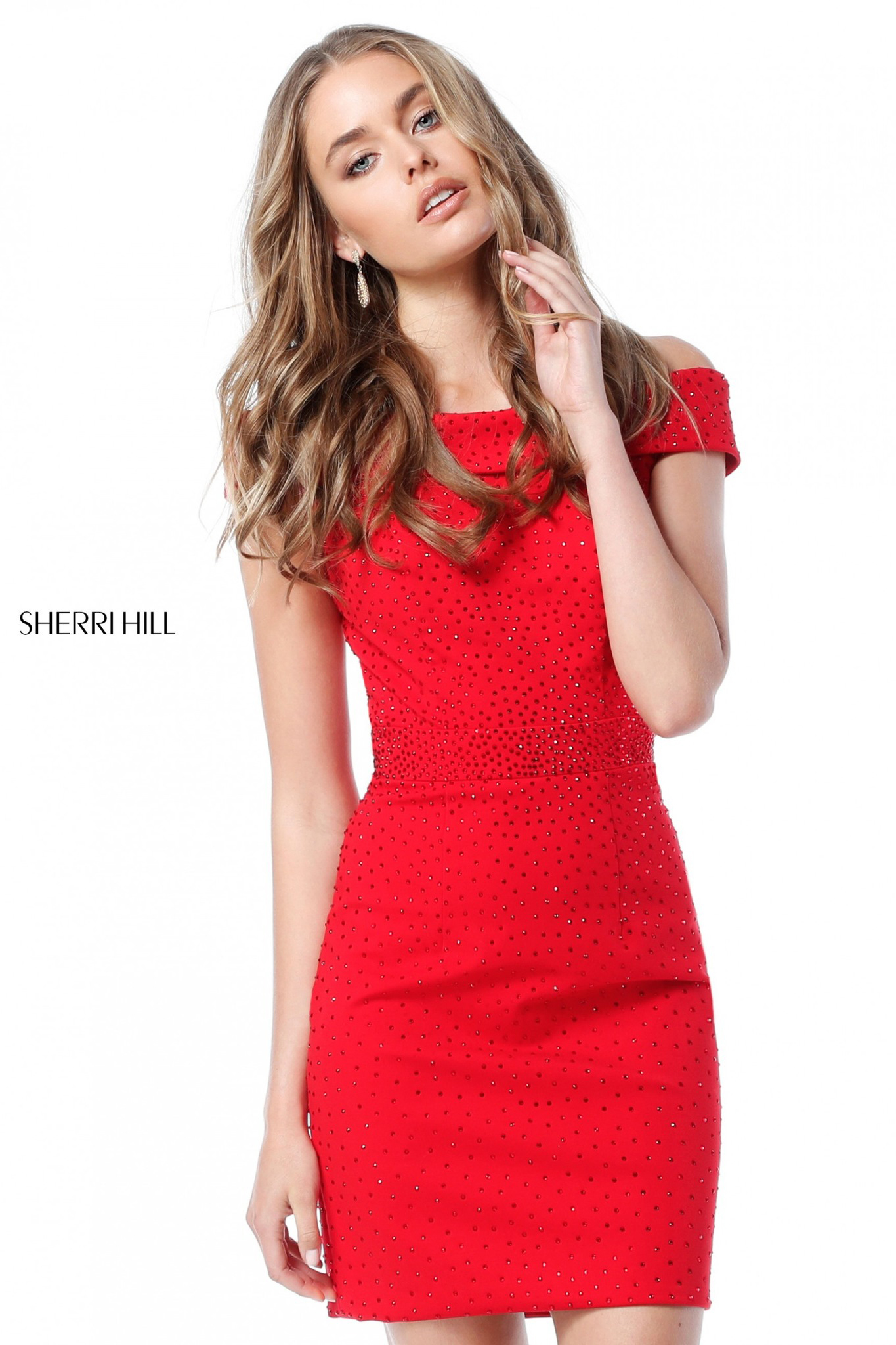 Платье короткое Sherri Hill 51425 красное с стразами