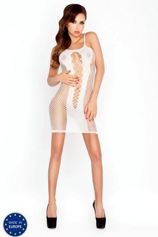 Платье из сетки с декоративными вырезами (027) белое