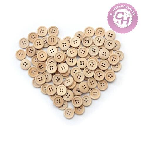 Пуговицы деревянные круглые, 1,5 см, 95-100 шт.