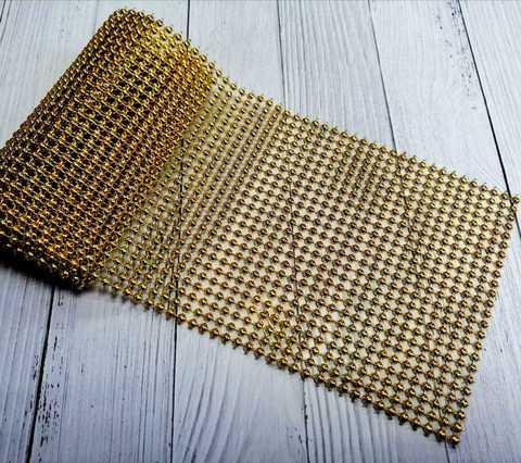 Стразы-жемчуг  на тканевой основе,  цвет золото,  11.5 см*100см