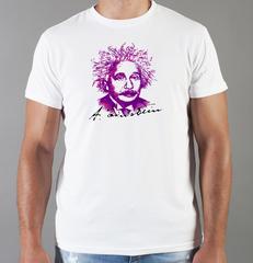 Футболка с принтом Альберт Эйнштейн (Albert Einstein) белая 0015