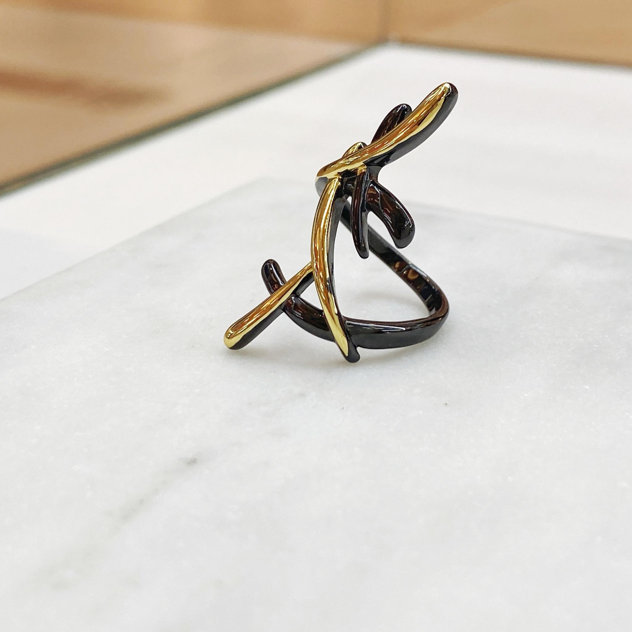 Кольцо Vi брызги черный/золото