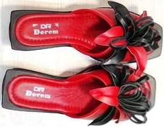 Летние шлепки босоножки с квадратным носком Derem 042-921-02 Red Black.