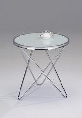 """Журнальный столик """"MK-2373-WT"""" с белой стеклянной столешницей —  Хром"""