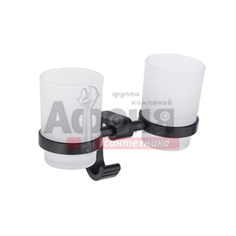 5508/L Держатель с 2-мя стаканами (стекло)  (черный)