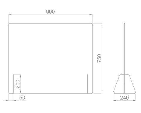 Настольный экран Ш.900 мм, В. 600/750 мм