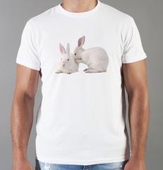 Футболка с принтом Заяц (Кролик) белая 0020