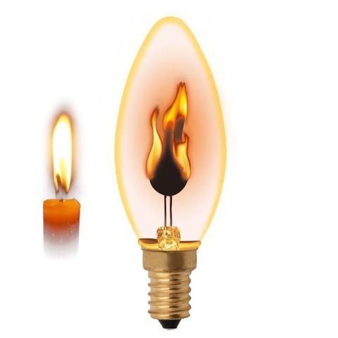 Лампа декоративная (Пламя свечи) E14 3W LED золотистая