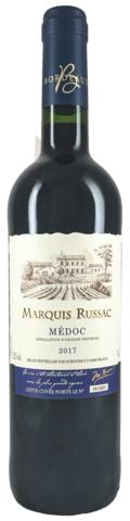 Вино Маркиз Рюссак з.н.м.п., категория АОР, регион Медок (Бордо) красное, сухое 0,75л.