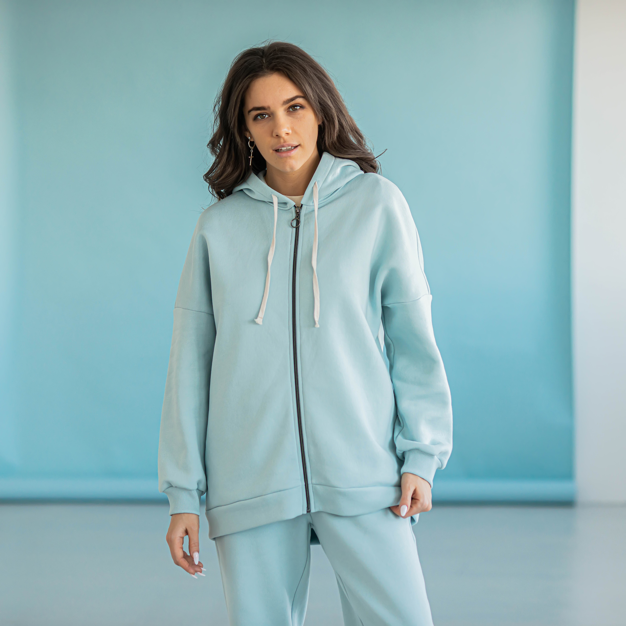 Warm oversized hoodie for women - Aqua