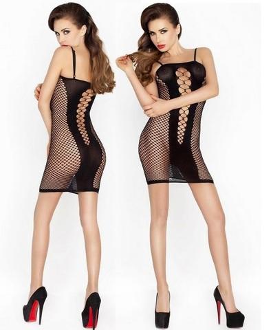 Платье из сетки с декоративными вырезами (027) черное