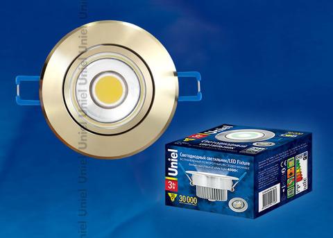 ULM-R31-3W/NW IP20 GOLD картон Светильник светодиодный встраиваемый поворотный, 110-240В. Материал корпуса алюминий, цвет золотой. Белый свет.