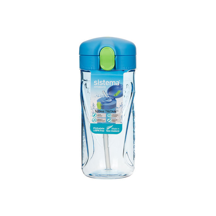 "Бутылка для воды с трубочкой Sistema ""Hydrate"", Тритан, 520 мл, цвет Голубой"