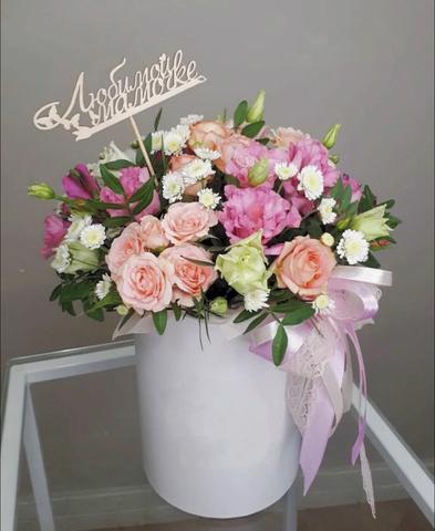 Цветы в коробке с топпером #007