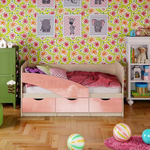 Кровать Бабочки розовый