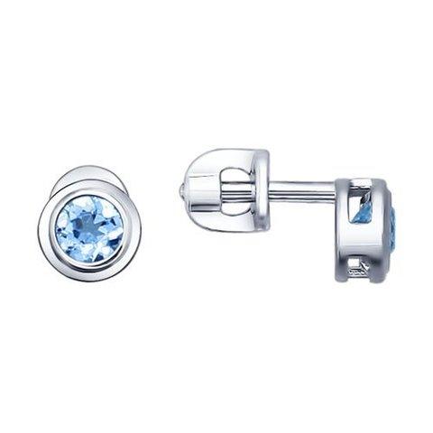 92021081 - Пусеты из серебра с завальцованными топазами